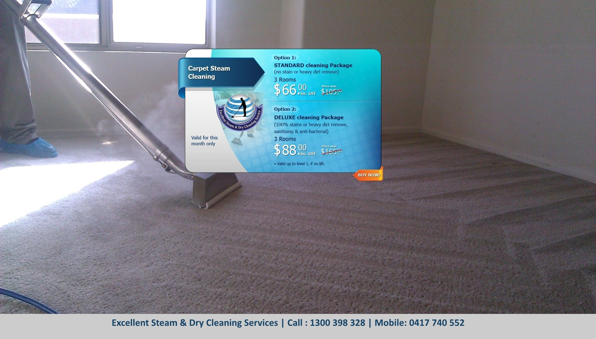 Carpet Steam and Dry Cleaning | Call: 1300 398 328